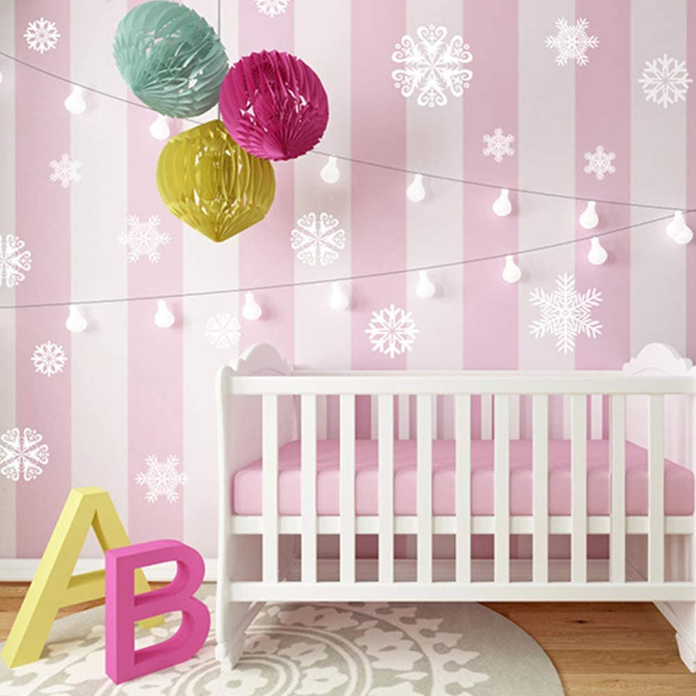 White Style N//J 420Pcs Christmas Snowflake Electrostatic Sticker for Winter Party Decorations,Atmosphere Decoration