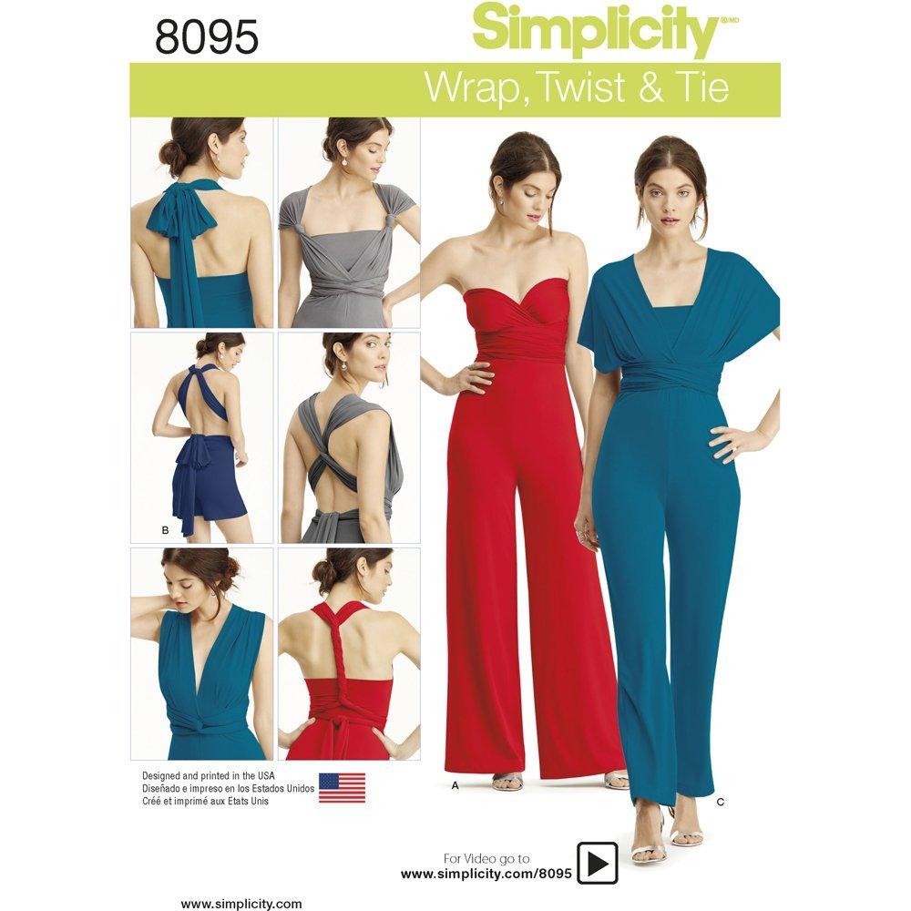 Simplicity Patterns Simplicity Creative Patterns Misses' Knit Wrap, Twist & Tie Jumpsuit and Romper Size: A (XXS-XS-S-M-L-XL-XXL), 8095