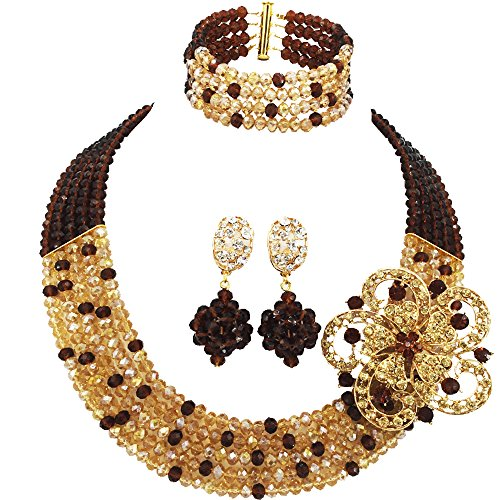 aczuv 5 Rows Royal Blue Yellow Women's Fashion African Beads Nigerian Necklace Bridal Wedding Jewelry Sets (Brown Gold AB) ()