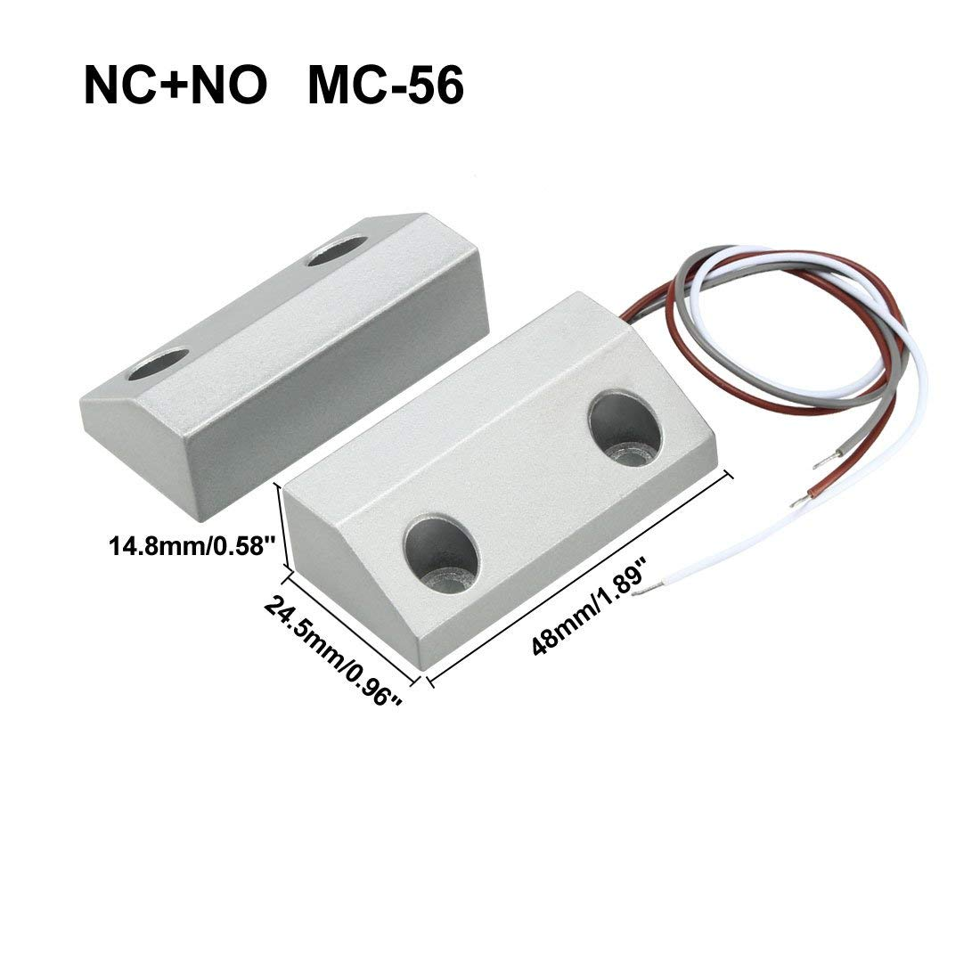 DealMux MC-56 NC+NO Alarm Security Rolling Gate Garage Door Contact Magnetic Reed Switch Silver Gray