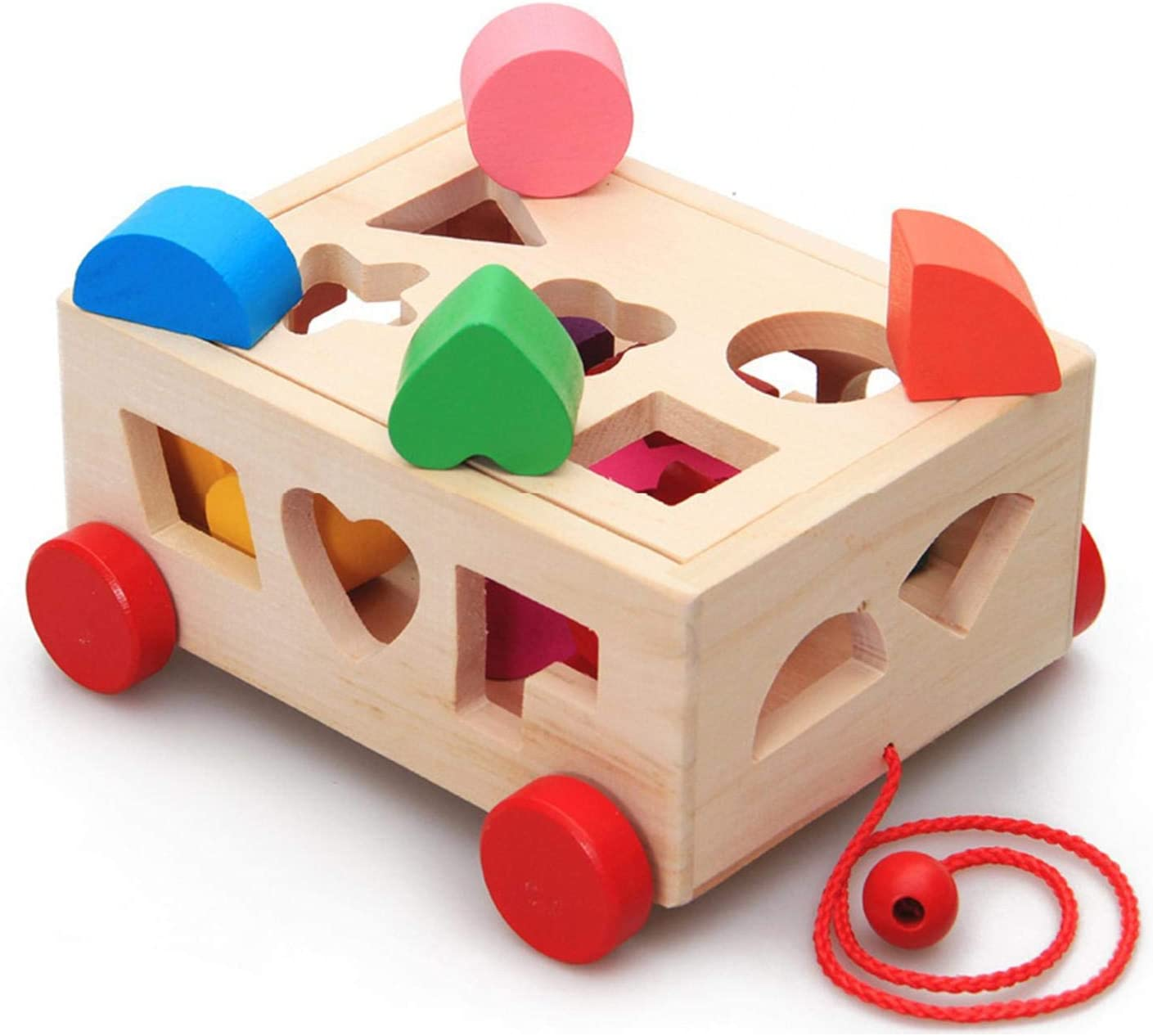 Beesuya Wooden Shape Sorter for 1 Year Old Montessori Toddler Educational Toys Shape Sorter for Toddlers