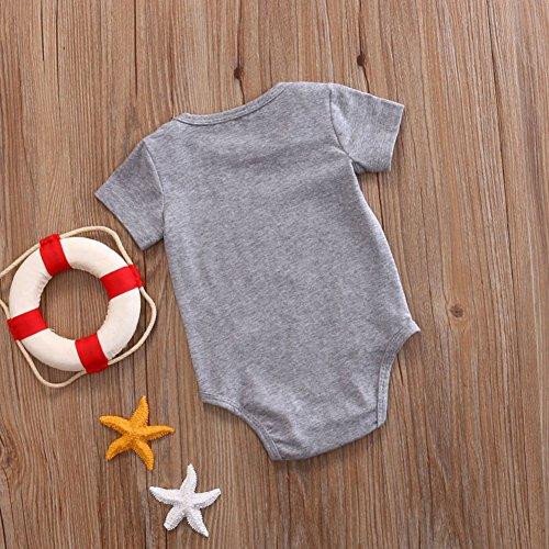 Baby Boys Girls Mommy Heart Print Love Pattern Short Sleeve Summer Short Romper (0-3 Months, Gray)