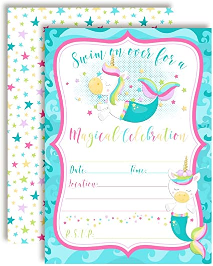 Personalised Magic Unicorn Mermaid Birthday Party Invitation Girl