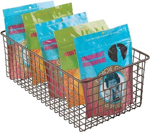oficina o garaje ba/ño mDesign Cesta de almacenaje compacta para cocina Cajas de almacenaje multiuso Caja organizadora multiprop/ósito con asas para transporte Color: satinado