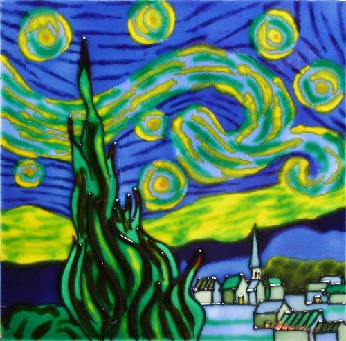 Rikki Knight Van Gogh Art The Restaurant de la Siren Design Ceramic Art Tile 8 x 8