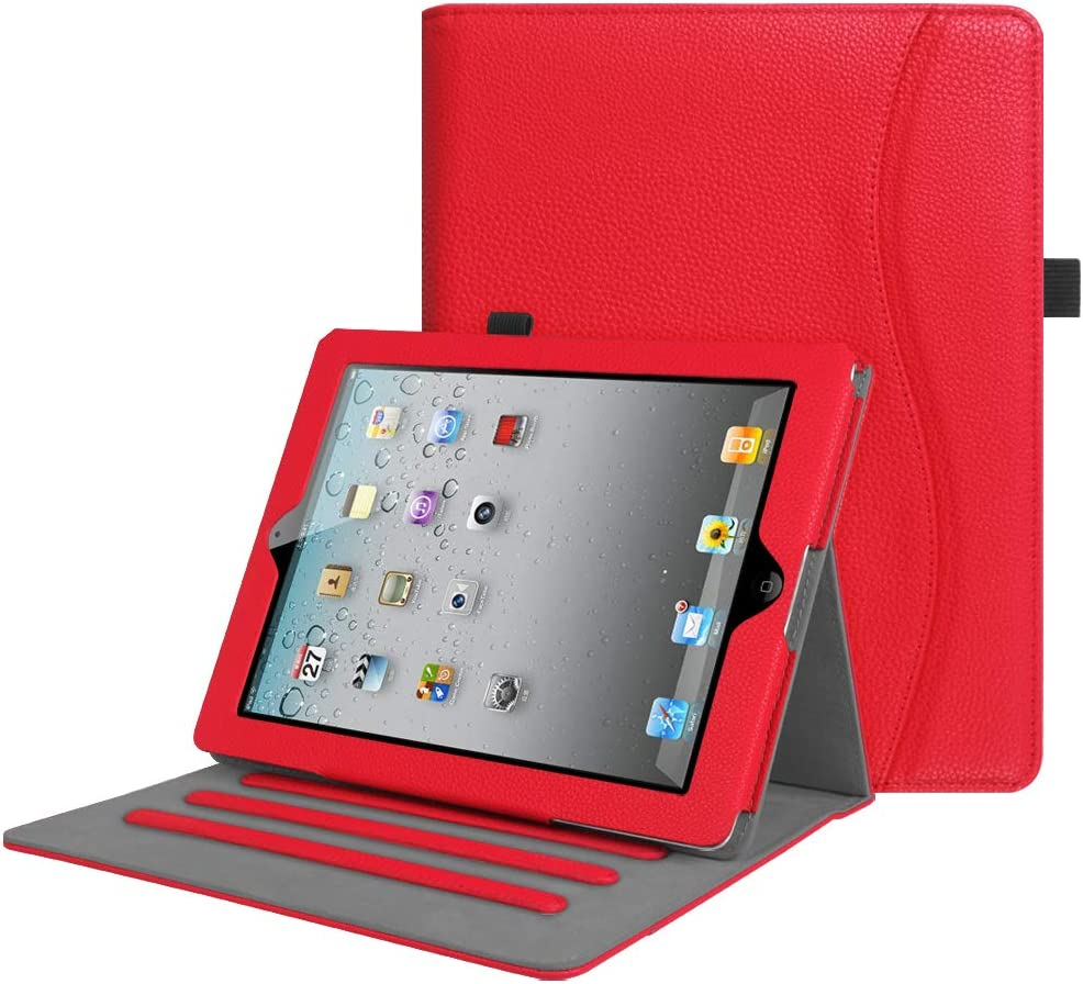 Fintie Case for iPad 2 3 4 (Old Model) 9.7 inch Tablet - [Corner Protection] Multi-Angle Viewing Smart Stand Cover with Pocket, Auto Sleep/Wake for iPad 2/3 & iPad 4th Gen Retina Display, Red