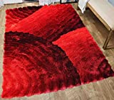 5×7 Furry Fuzzy Fluffy Shiny Shimmer Contemporary Modern Shag Shaggy Decorative Designer Quality Soft Plush 3D High Pile Plush Area Rug Carpet Living Room Bedroom Red Two Tone Color ( SAD 280 Red )