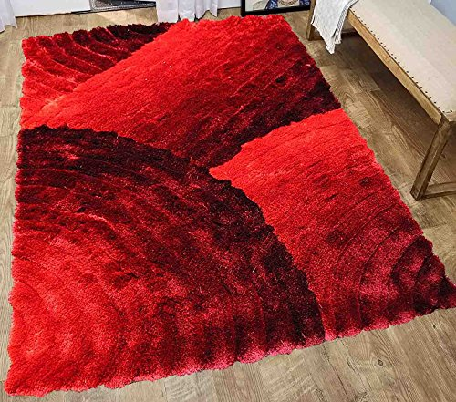 5x7 Furry Fuzzy Fluffy Shiny Shimmer Contemporary Modern Shag Shaggy Decorative Designer Quality Soft Plush 3D High Pile Plush Area Rug Carpet Living Room Bedroom Red Two Tone Color ( SAD 280 Red ) (Shiny Shag)