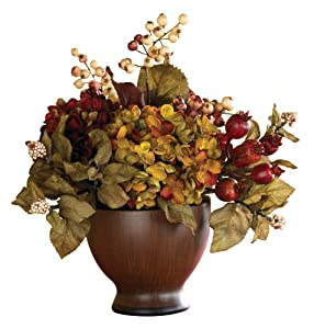 Nearly Natural 4680 Autumn Hydrangea with Round Vase, Multi Color