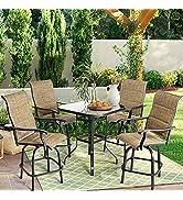 Outdoor Patio Swivel Bar Sets - Aoxun 5 Pieces Bar Height Furniture, 4 Pieces Textilene High 360°...