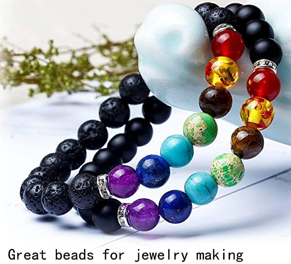 Bracelet Pendant Necklace 410 Pieces 8mm Lava Beads Stone Rock with Chakra Beads and Spacer Beads for Essential Oil Jewelry Making with Storage Box and 2 Pack 6M Stretch String by Alloyseed