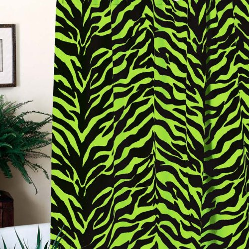 Lime Green Zebra Shower Curtain and One Matching Window Valance (1 Shower Curtain, 1 Window Valance) Decorate your Bathroom and SAVE BIG ON BUNDLING!
