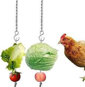 Suplklz Chicken Vegetable Hanging Feeder Toy for Hens Pet Chicken Veggies Skewer Fruit Holder for Hens Large Bird