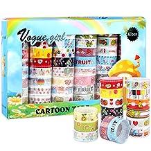 "60PCS/Set Lovely Washi Masking Craft Tape Arts Scrapbooking DIY Decorative Sticker,0.59""×2.18 Yards Each,Holidays Gift For Kids,Blue Package"