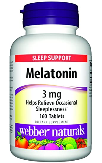 Webber Naturals Melatonin Tablets, 3mg, 160 Count
