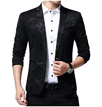 b511e3bd9af Comaba Mens Camo Print Notched Lapel 1 Button Jacket Work Office Blazer at Amazon  Men s Clothing store
