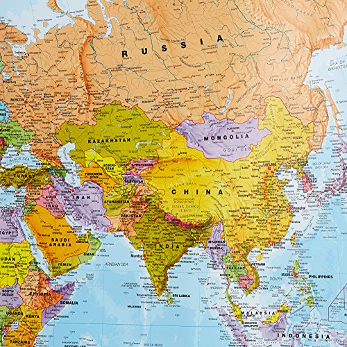 Giant World MegaMap - Large Wall Map Poster - Paper with front sheet lamination - 77.95 x 48.03 inches by Maps International (Image #3)