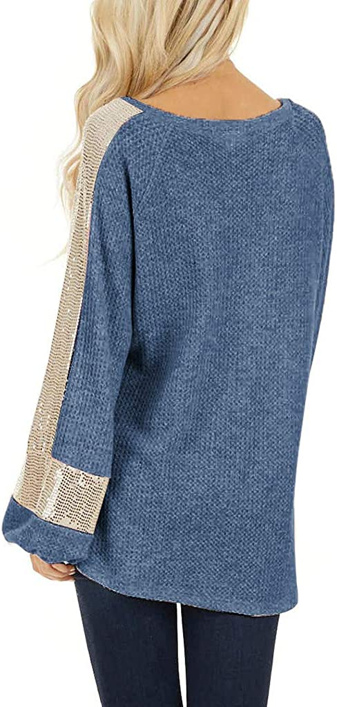 Innerternet Damen Lose Asymmetrisch Jumper Pailletten Glitzer Sweatshirt Pullover Bluse Oberteile Oversize Tops T-Shirt Langarm Rundhals M/äDchen weater Pulli Oberteil