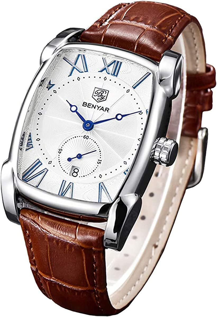 Amazon.com: Classic Retro Rectangle Watches Men Brown Genuine Leather Men's  Watch Quartz Business Wrist Watch for Men…: Watches