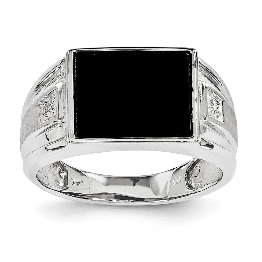 ICE CARATS 14k White Gold Diamond Mens Band Ring Size 10.00 Man Fine Jewelry Dad Mens Gift Set