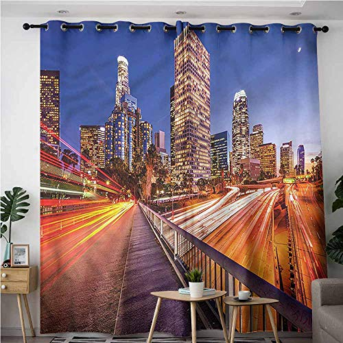 XXANS Grommet Curtains,Night,Los Angeles USA Downtown,Energy Efficient, Room Darkening,W84x84L (Time Difference Between Los Angeles And Ohio)