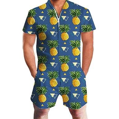 3590a609569 LianShenang Pineapple Print Men Romper Hawaii Jumpsuit Romper Summer Hoiday Playsuit  Overalls One Piece Slim Fit