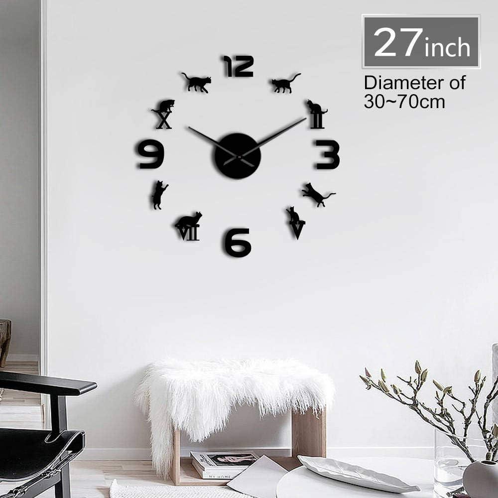 Lanlugg Números Romanos DIY Gran Reloj de Pared Moderno Gatito Gato Reloj Gigante 3D Espejo Gran Número Etiqueta de Reloj de Pared Gato Amante Regalo Creativo: Amazon.es: Hogar