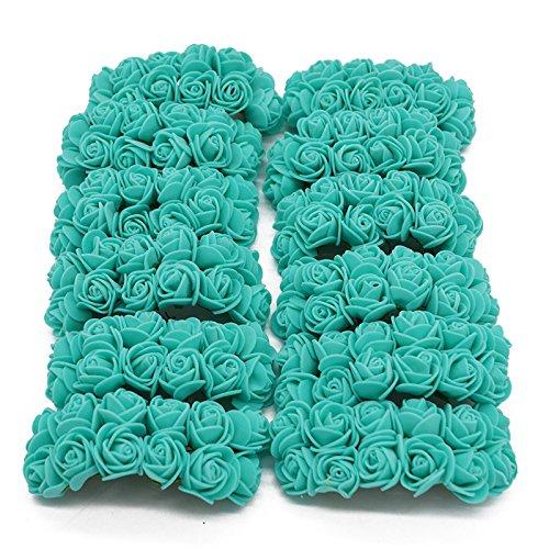 YONGSNOW 288pcs(2pack)/lot 2cm Mini PE Foam Rose Artificial Flower Bouquet Home Garden Supplies (Teal) from YONGSNOW