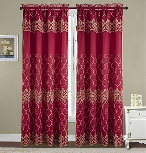 (RT Designers Collection Emmett Embroidered 54 x 90 in. Rod Pocket Curtain Panel w/ Attached 18 in. Valance, Burgundy)