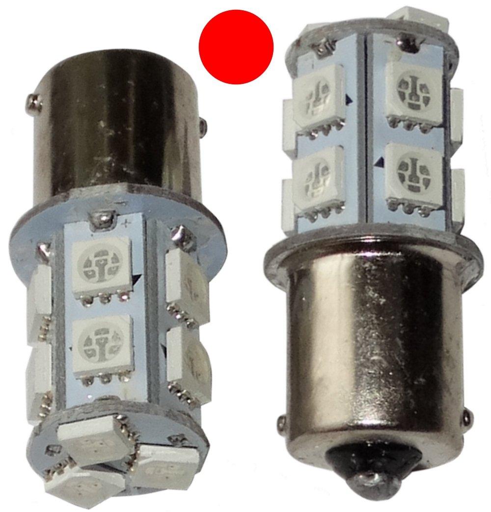 Aerzetix: 2 x Lampadina P21 W R5 W R10 W 12 V 13LED SMD Rosso Base 1156 SK2-C14068-AE54 x2
