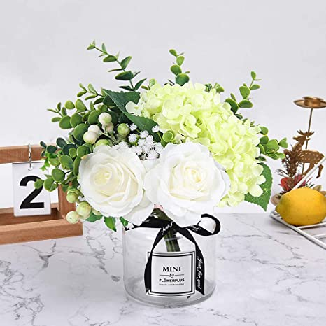 Amazon Com Hebe Artificial Flowers With Glass Vase Fake Silk Rose Flowers Eucalyptus Berries Arrangement Bouquet In Vase For Table Home Office Wedding Decoration White Furniture Decor