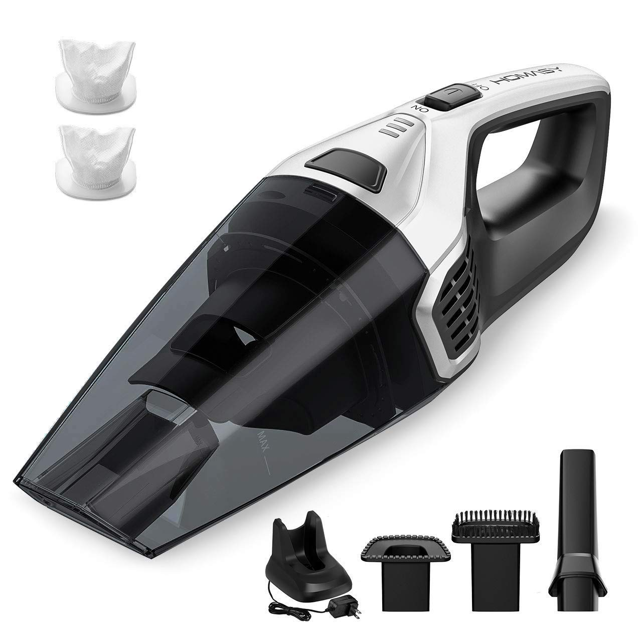 Homasy Upgraded Handheld Vacuum Cleaner Cordless, Powerful Lightweight Cyclonic Suction Cleaner, Rechargeable Quick Charge, Wet Dry Vacuum Cleaner for Pet Hair, Home and Car Cleaning
