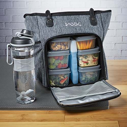 Fit & Fresh Jaxx FitPak Commuter Meal Prep Bag with Portion Control Containers & 24 oz Shaker Bottle ()
