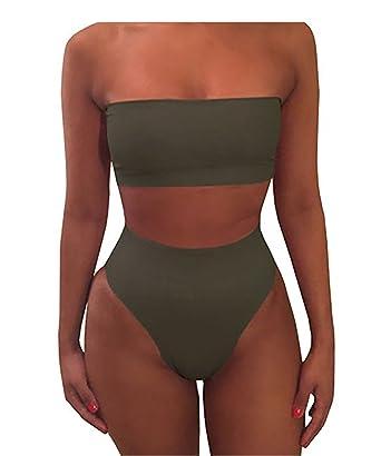 Image result for Shele Women Sexy Plain Bandeau Top High Waist Bottom Bikini Set