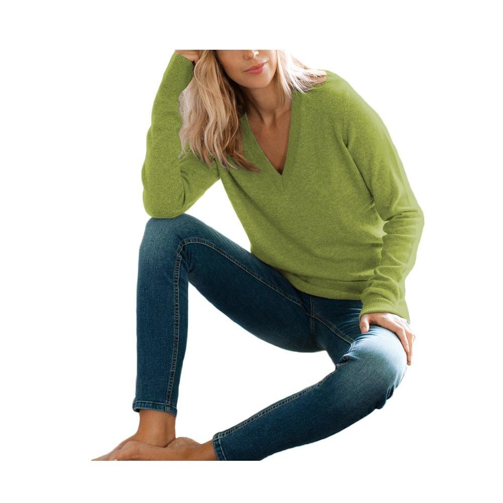 Parisbonbon Women's 100% Cashmere V-Neck Sweater Color Grass Green Size S