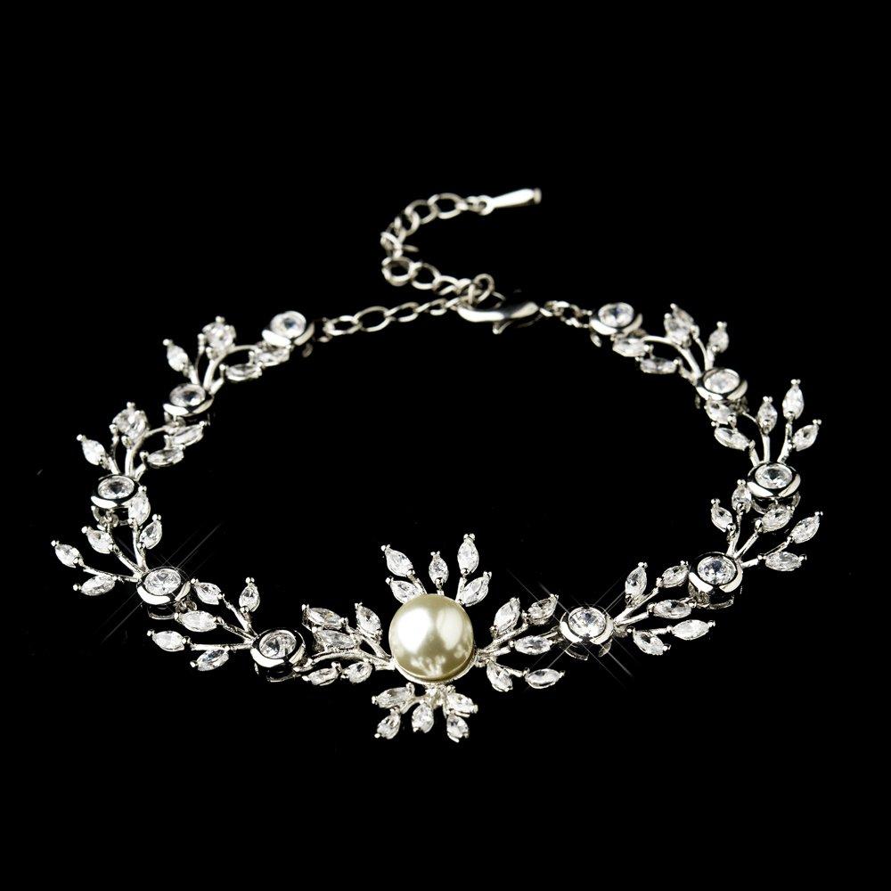 RaeBella Wedding Jewelry : Silver Clear Marquise Round CZ Crystal & Ivory Glass Pearl Bridal Clasp Bracelet by RaeBella Weddings & Events New York