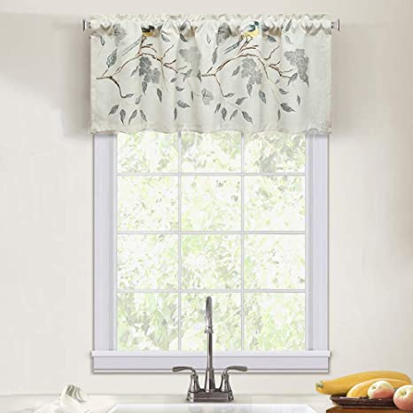 Leeva Embroidery Valances For Windows Kitchen Floral Classic Linen Treatment Small Window Curtains For Dining Room Bathroom 52x18 Birds Blue Kitchen Dining