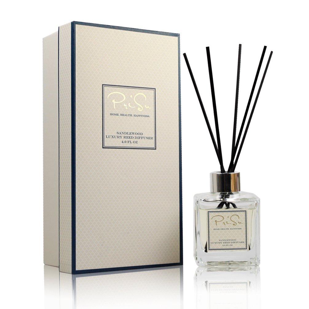 PriSu Fragrances Essential Oils Reed Diffuser - Sandalwood Aromatherapy 4 fl oz