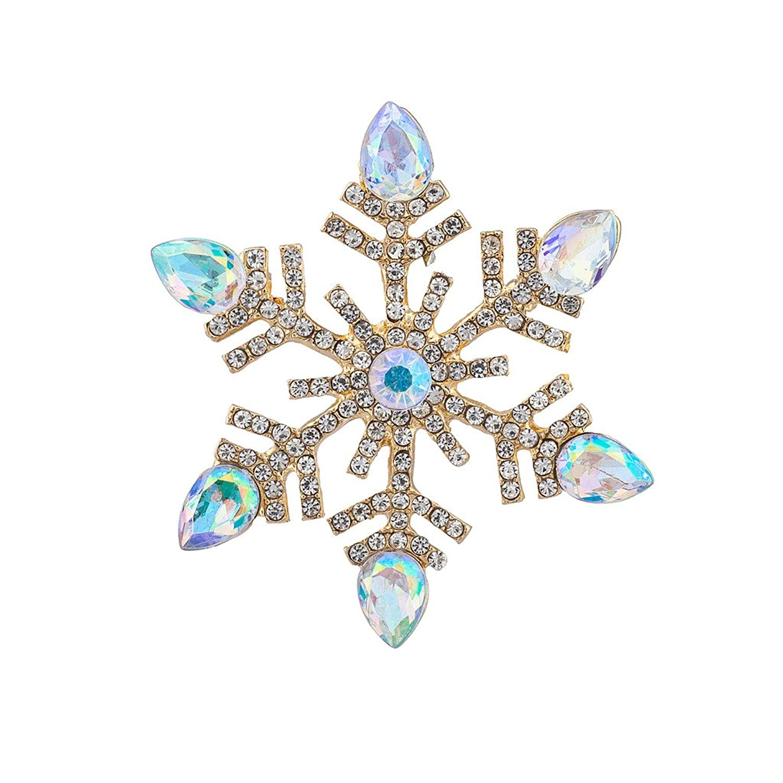 Christma Faux Aqua Jewel Snowflake Pin