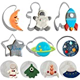 Space Cookie Cutters , Outer Space Fondant Stamper Set, Spaceship Astronaut Rocket Moon Star Planet Circle Pastry Biscuit Cak