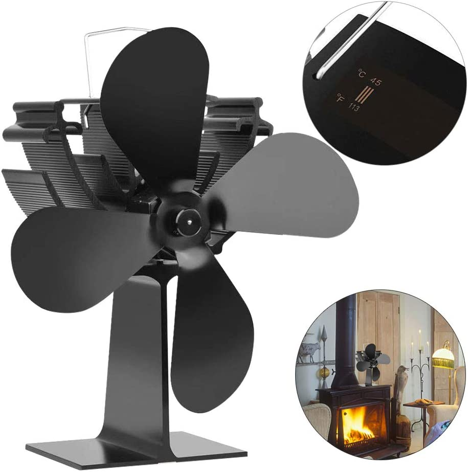 Ventilador de estufa de 4 palas alimentado por calor para leña/quemador de leña/ventilador de chimenea Alimentado por calor con monitoreo de temperatura,ventilador Distribución eficiente del calor: Amazon.es: Hogar