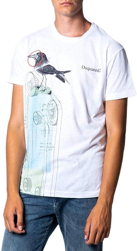 DSquared - Camiseta para hombre, impresión Corvo s71gd0749 Bianco XXL: Amazon.es: Ropa y accesorios