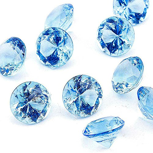 Adorox Mini Acrylic Crystal Gems Diamond Vase Filler Confetti Table Scatter Pirate Treasure (Light Blue (1lb Bag)) (Gem Table Scatter compare prices)
