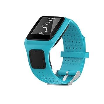 Correa de repuesto de silicagel Saihui para reloj TomTom Multi Sport/Cardio GPS, color azul: Amazon.es: Deportes y aire libre