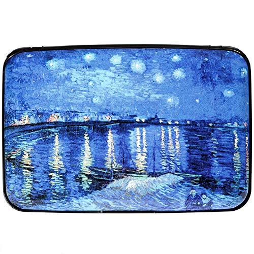 - Aluminum Wallet RFID Blocking Slim Metal Credit Card Holder Hard Case (Van Gogh Starry Night)
