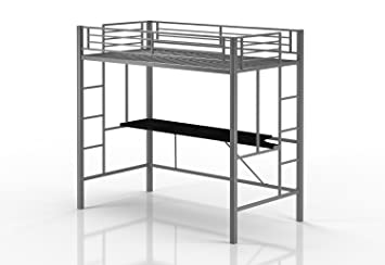 emily premium twin loft bunk bed with desk tiny house style sturdy metal frame - Metal Frame Loft Bed