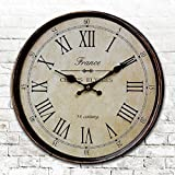 Round round American antique clocks digital wall clock digital clock retro living room bedroom clock diameter 34/40/50/60cm,B,24 inch