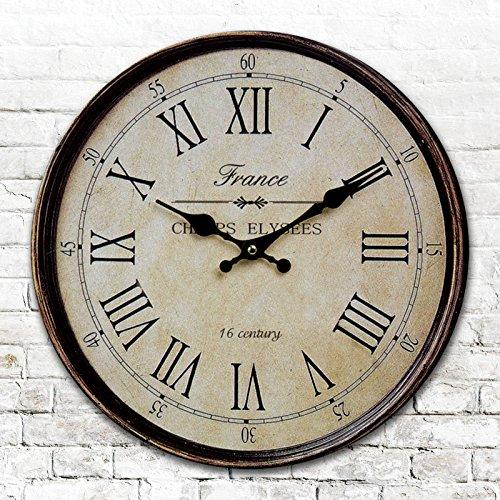 Round round American antique clocks digital wall clock digital clock retro living room bedroom clock diameter 34/40/50/60cm,B,24 inch by LTYGZ