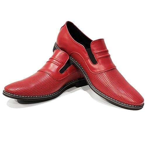 Modello Slipredo - Cuero Italiano Hecho A Mano Hombre Piel Rojo Mocasines y Slip-Ons Loafers - Cuero Cuero Repujado - Ponerse: Amazon.es: Zapatos y ...