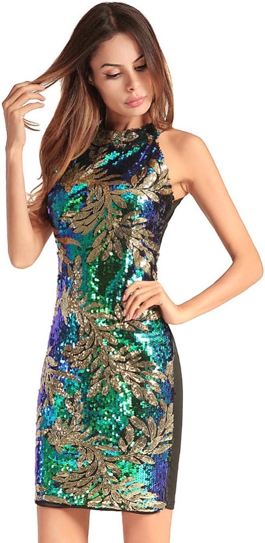 Jiaa Pailletten-Kleid der Sommer-Frauen Sleeveless Reizvolles